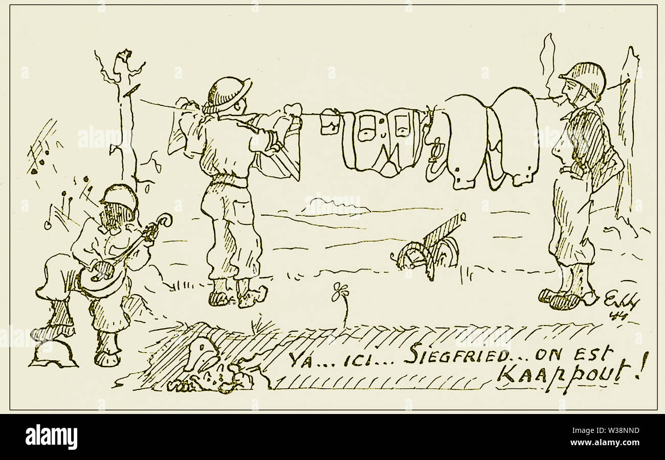 WWII French Postcard from 1944 showing British and American soldiers hanging out the washing on the SIEGFRIED LINE whilst a black American plays a banjo. Note the German soldier hiding in the trench at the bottom - Stock Image