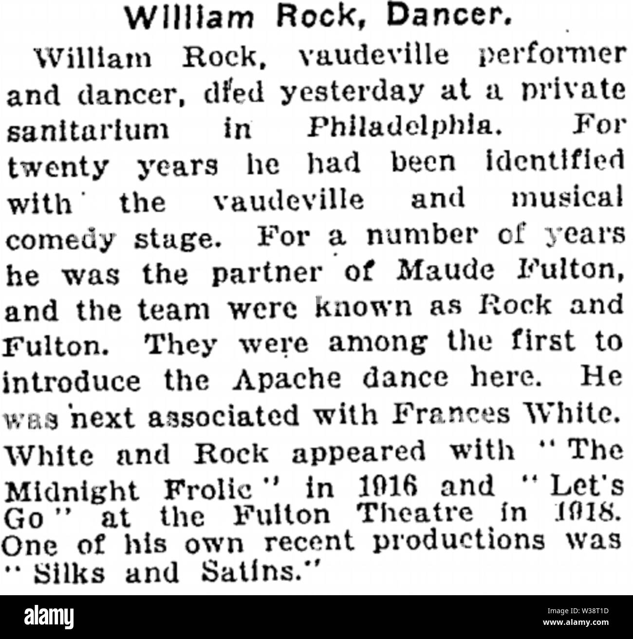 William Baker Rock (1872-1922) obituary in the New York