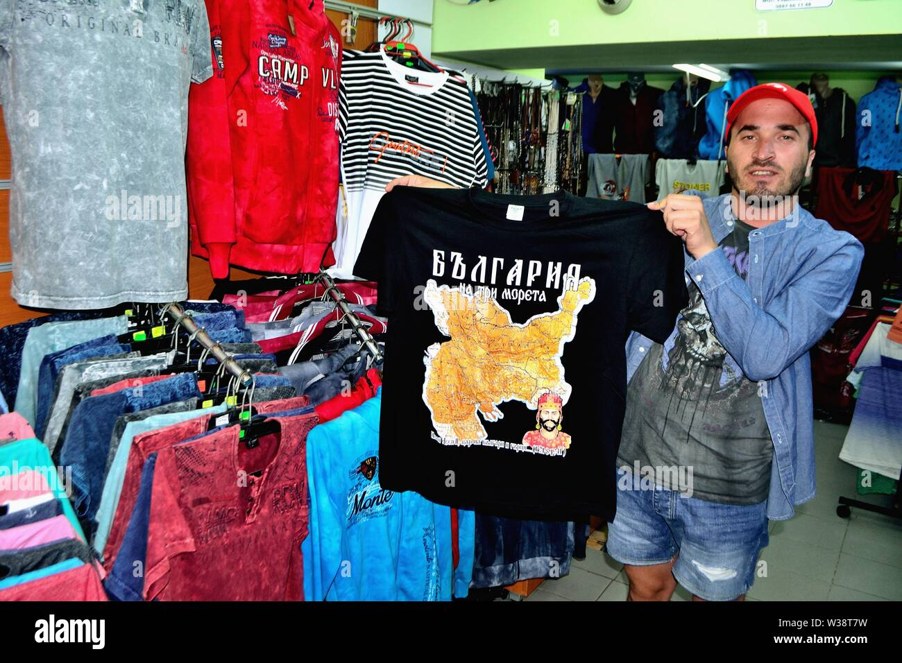 Selling typical souvenirs in NESSEBAR -  Black Sea - BULGARIA - Stock Image