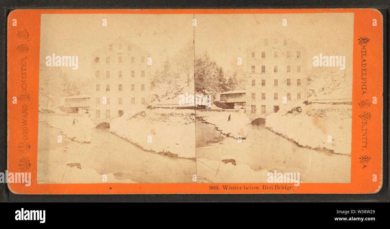 Winter below Red Bridge, by Woodward, C W (Charles Warren) - Stock Image