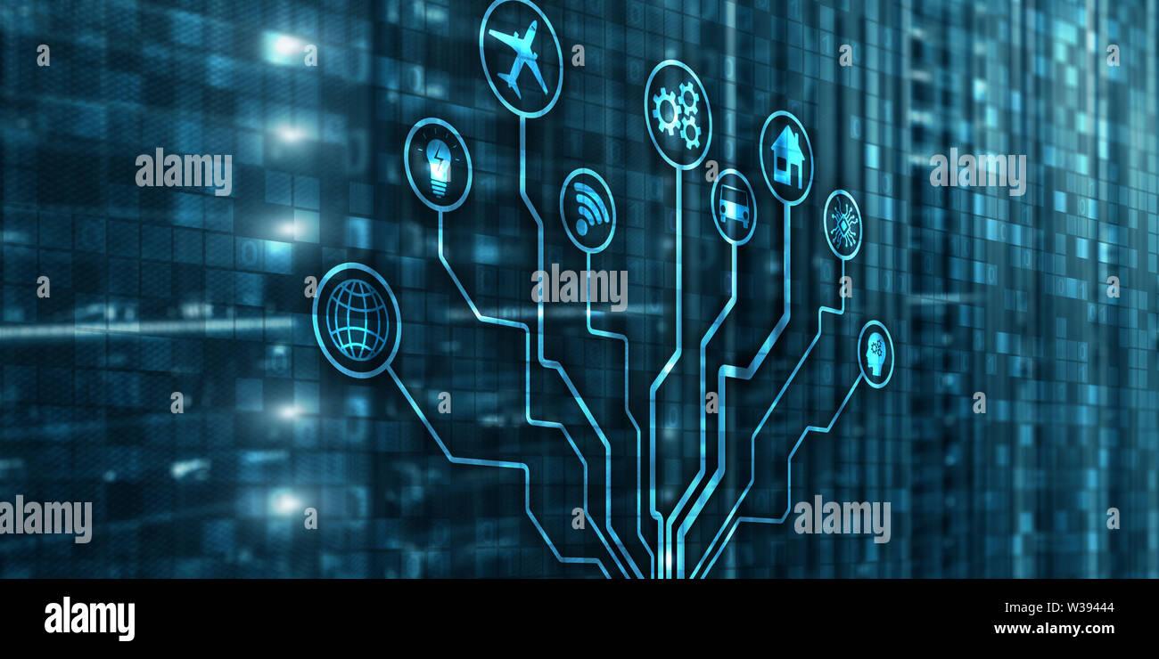 IOT. DIgitalization, Digital disruption background matrix information technology and internet concept Stock Photo