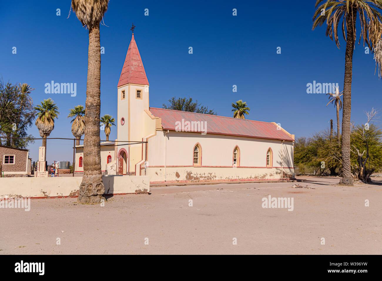 Local church in the Namibian village of Hoachanas, Namibia Stock Photo