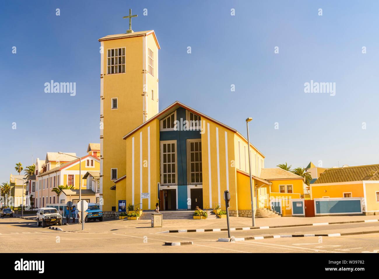 Roman Katholic Church, Daniel Tjongarero Ave, Swakopmund, Namibia Stock Photo