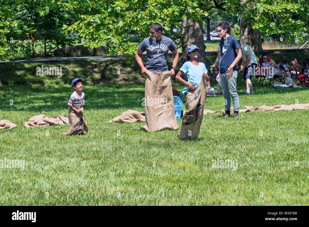Sack race, Old-fashioned  4 of July Celebration , Doylestown , PA, USA - Stock Image