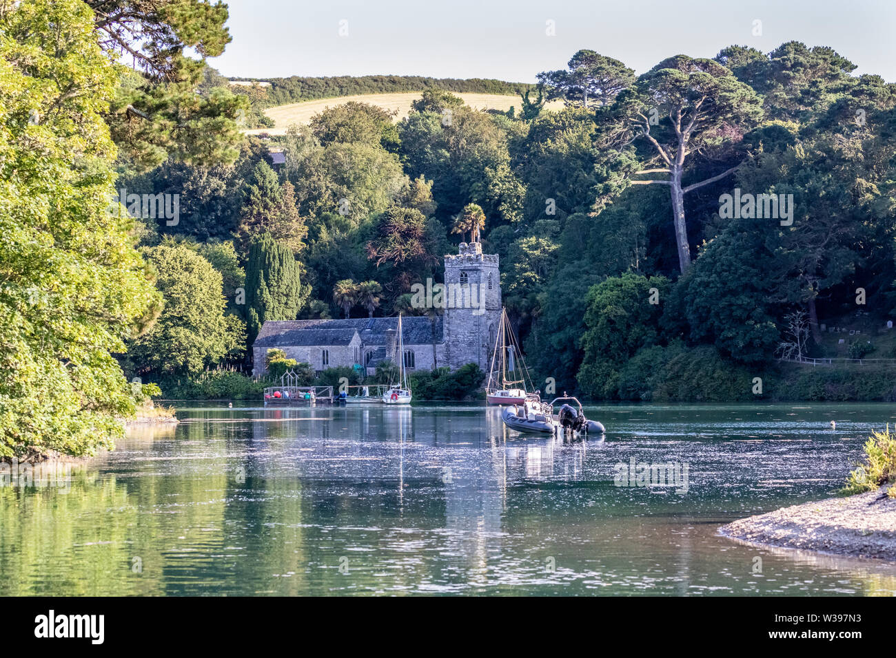 St Just-in-Roseland Church, Spring Tide - Stock Image