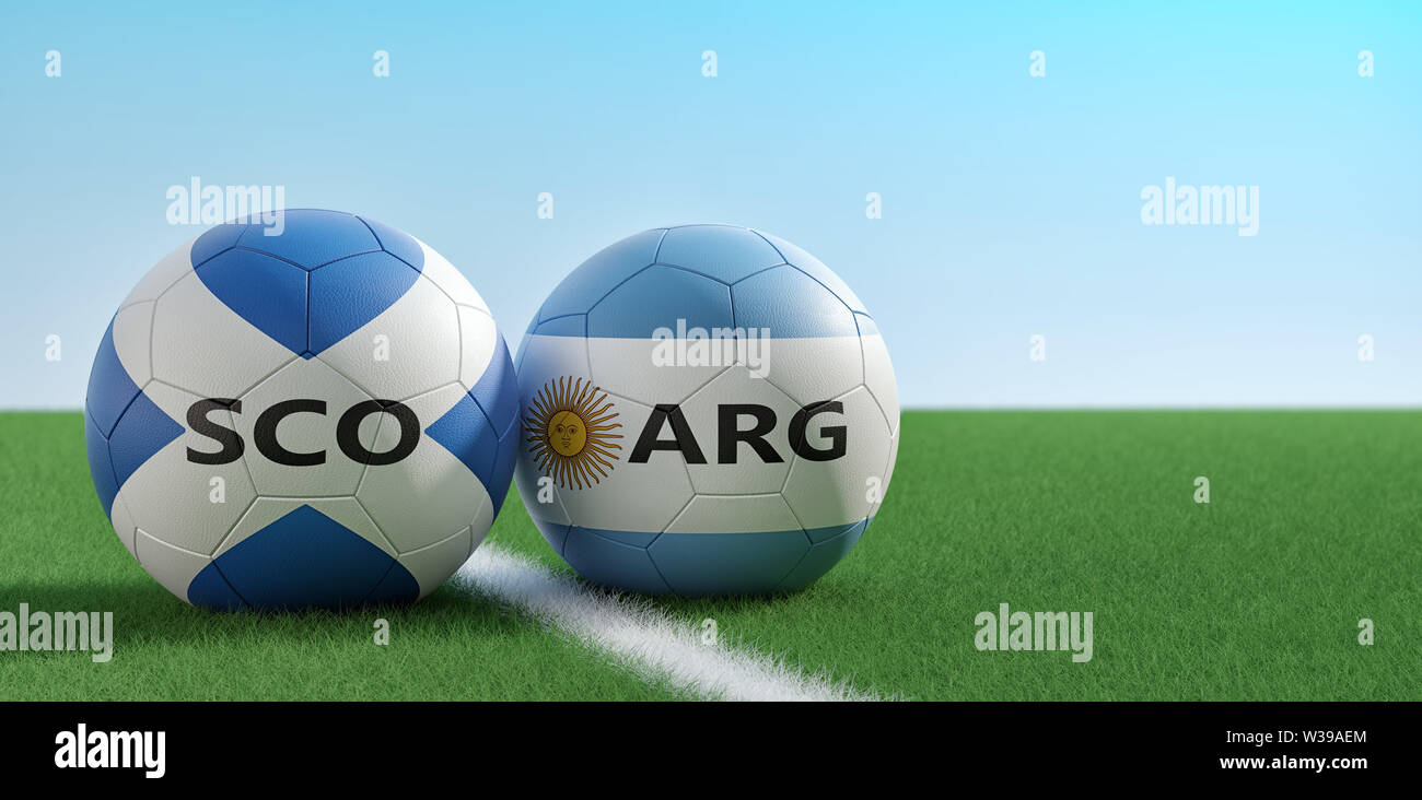 Scotland vs. Argentina Soccer Match - Soccer balls in Argentina and Scotland national colors on a soccer field. Copy space on the right side - 3D Rend - Stock Image