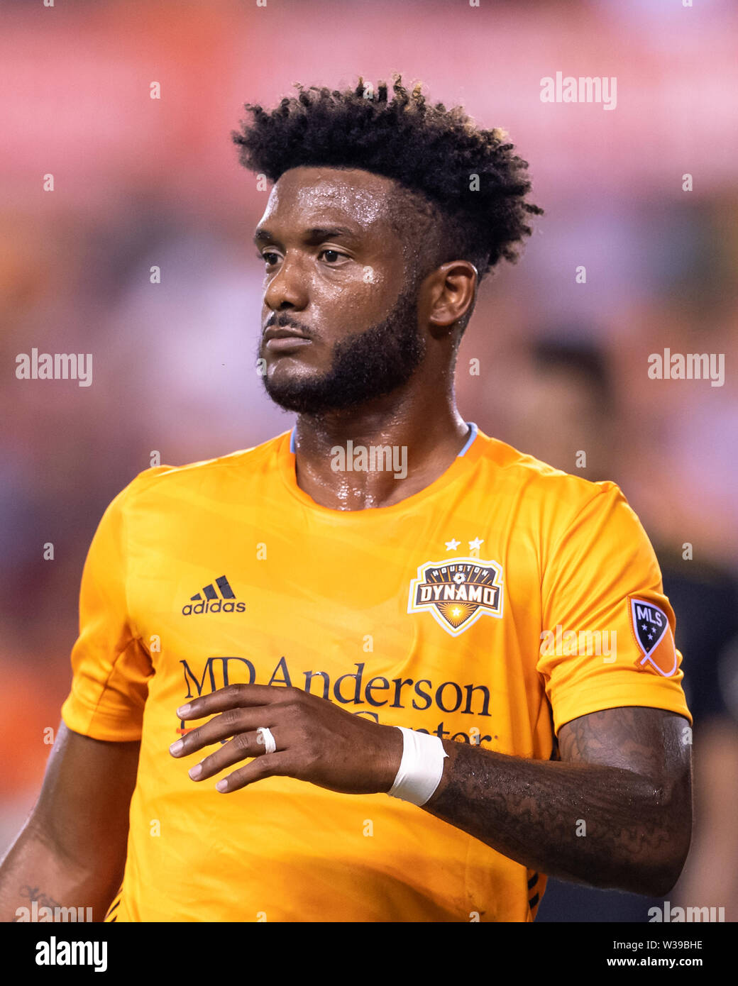 Houston, Texas, USA. 12th July, 2019. Houston Dynamo forward Michael Salazar (19) during a match between Los Angeles FC and Houston Dynamo at BBVA Stadium in Houston, Texas. The final LAFC wins 3-1. Maria Lysaker/CSM/Alamy Live News - Stock Image