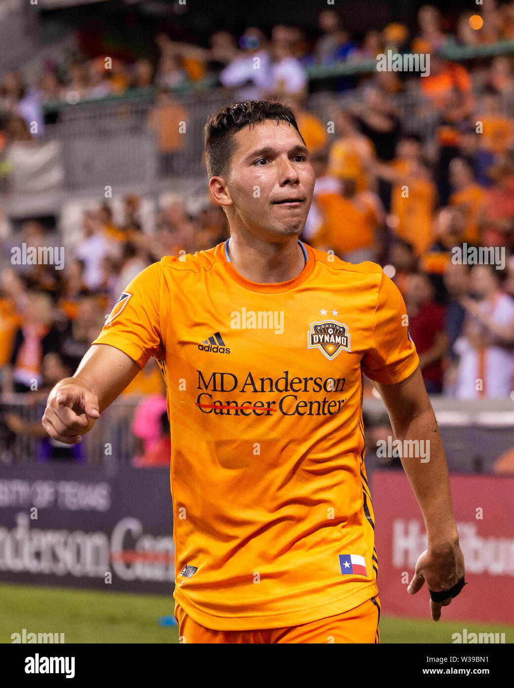 Houston, Texas, USA. 12th July, 2019. Houston Dynamo midfielder Tomas Martinez (10) during a match between Los Angeles FC and Houston Dynamo at BBVA Stadium in Houston, Texas. The final LAFC wins 3-1. Maria Lysaker/CSM/Alamy Live News - Stock Image