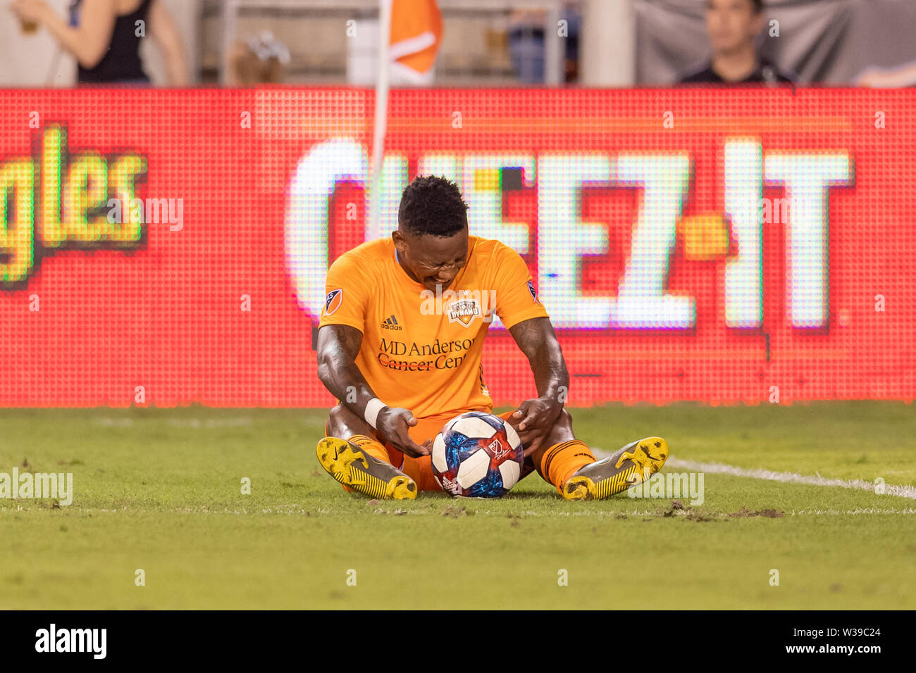 Houston, Texas, USA. 12th July, 2019. Houston Dynamo forward Romell Quioto (31) reacts during a match between Los Angeles FC and Houston Dynamo at BBVA Stadium in Houston, Texas. The final LAFC wins 3-1. Maria Lysaker/CSM/Alamy Live News - Stock Image