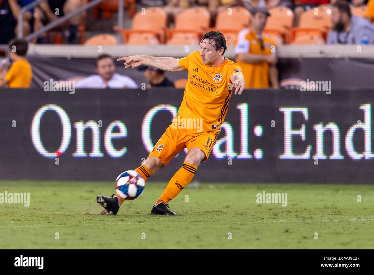 Houston, Texas, USA. 12th July, 2019. Houston Dynamo midfielder Thomas McNamara (11) during a match between Los Angeles FC and Houston Dynamo at BBVA Stadium in Houston, Texas. The final LAFC wins 3-1. Maria Lysaker/CSM/Alamy Live News - Stock Image