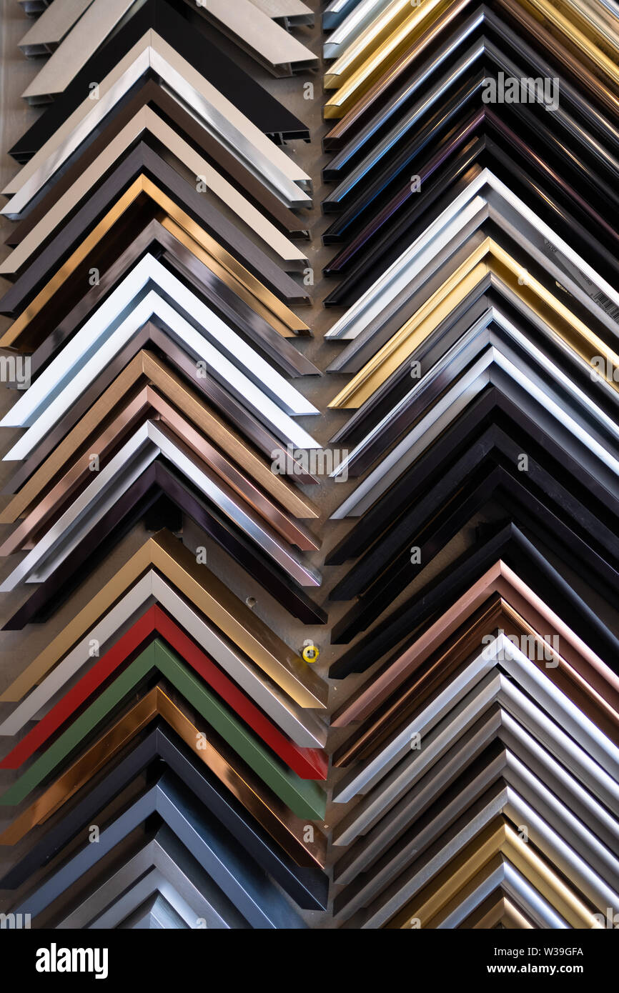 Rows of sample picture frames in a custom picture framing
