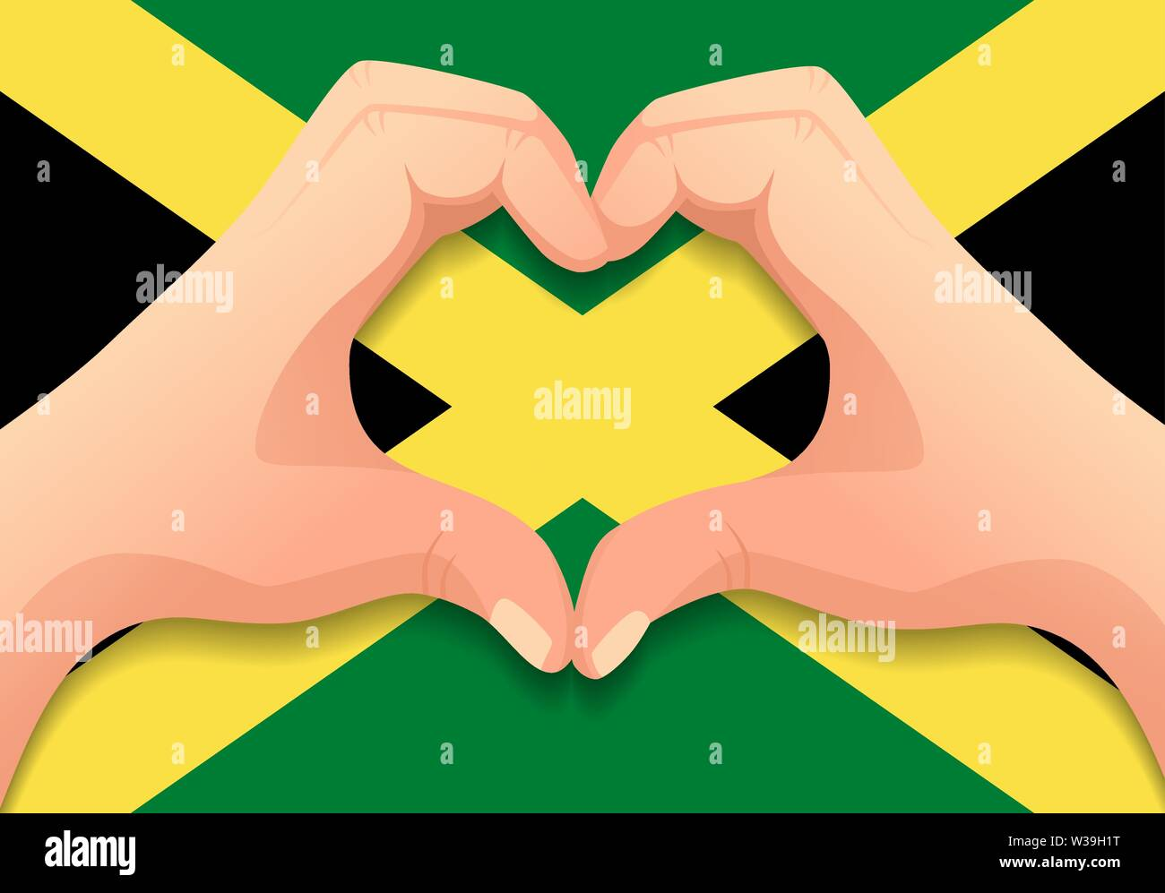 Jamaica flag and hand heart shape  Patriotic background