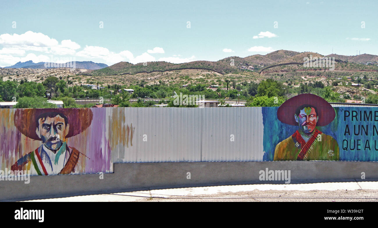 mural of mexican generals Zapata and Pancha Via near border in Nogales usa Stock Photo