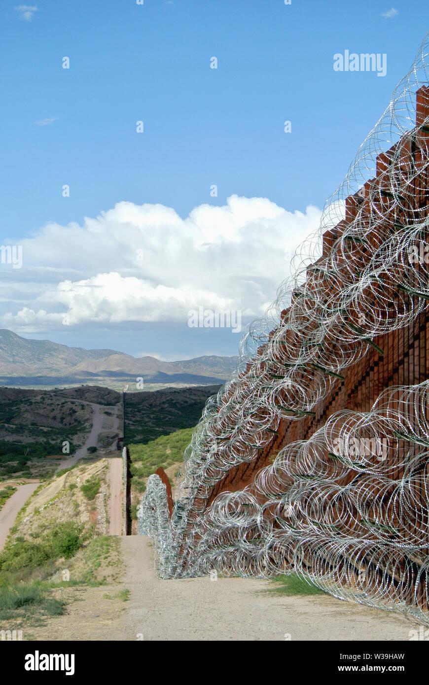 border barrier in nogales, arizona Stock Photo