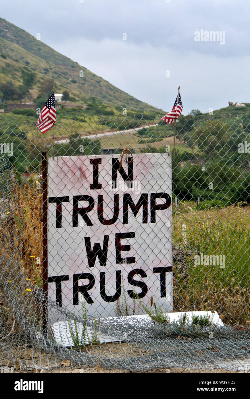 Trump approval sign near us mexican border in Calexico usa Stock Photo