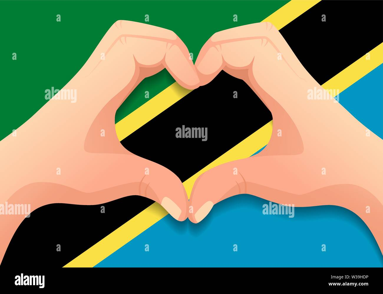 Tanzania flag and hand heart shape. Patriotic background. National flag of Tanzania vector illustration - Stock Image