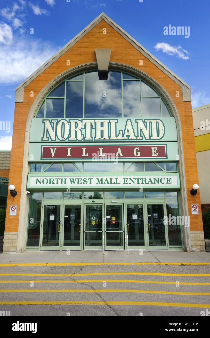 Entrance Door to Northland Village Mall, a one-level shopping center in north west part of Calgary Alberta Canada Stock Photo