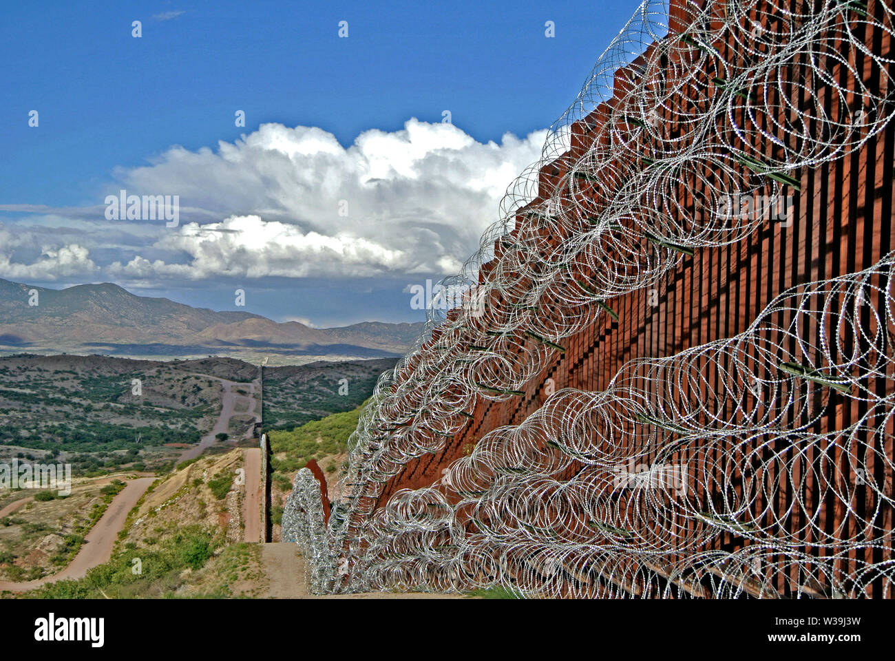 border fence in nogales arizona on us side Stock Photo