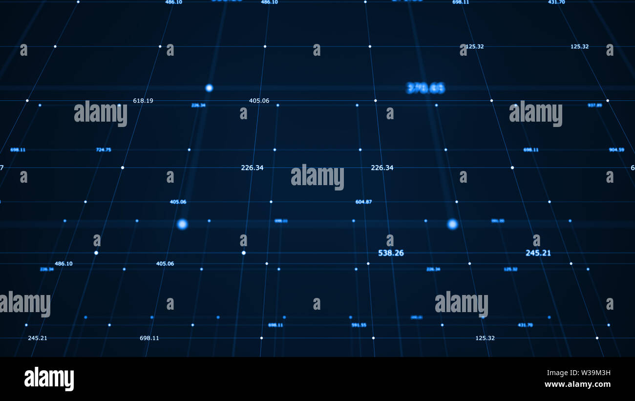Big data visualization. Machine learning algorithms. Analysis of information. Technology data binary code network conveying connectivity, complexity a - Stock Image