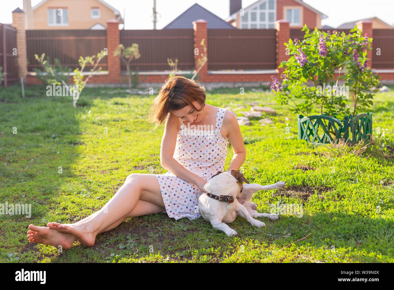 Laughing positive young woman in dress plays with her beloved restless dog sitting in the yard of a country house on a sunny summer day. Family - Stock Image