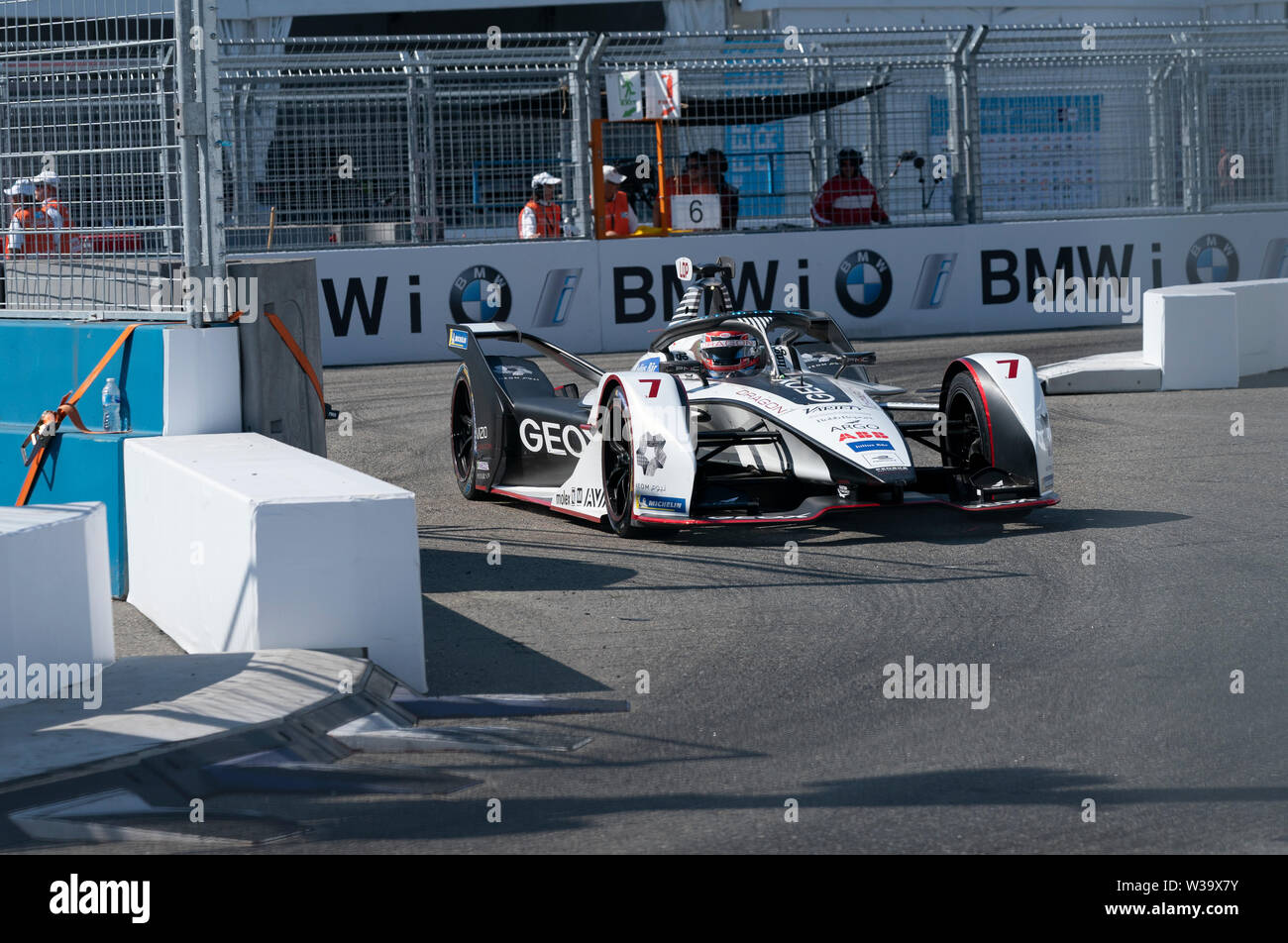 New York, NY - July 13, 2019: Jose Maria Lopez (7) of Geox team drives  electric racing car during New York City E-Prix 2019 Formula E Round 12 at  Red Hook Stock Photo - Alamy