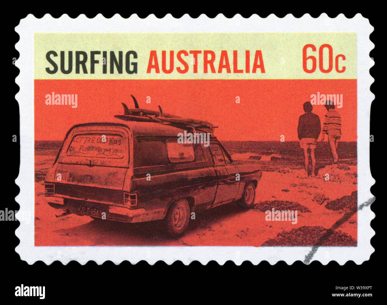 AUSTRALIA - CIRCA 2013: A stamp printed in Australia dedicated to Surfing in Australia, circa 2013. - Stock Image