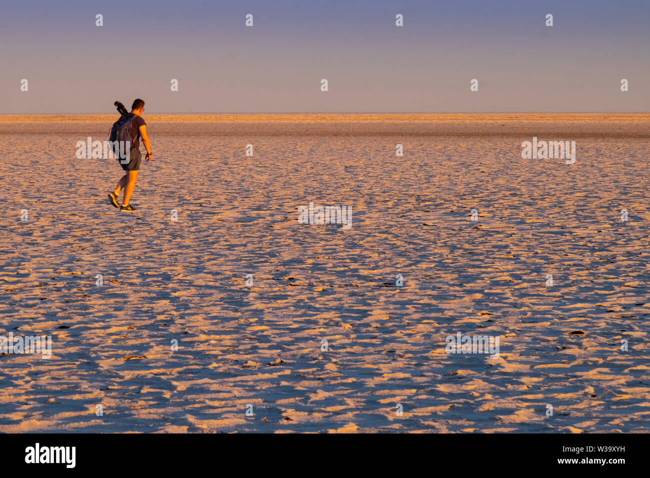 White salt crusts on mud at the shore of the large, arid-zone Kati Thanda-Lake Eyre in outback in northern South Australia. - Stock Image