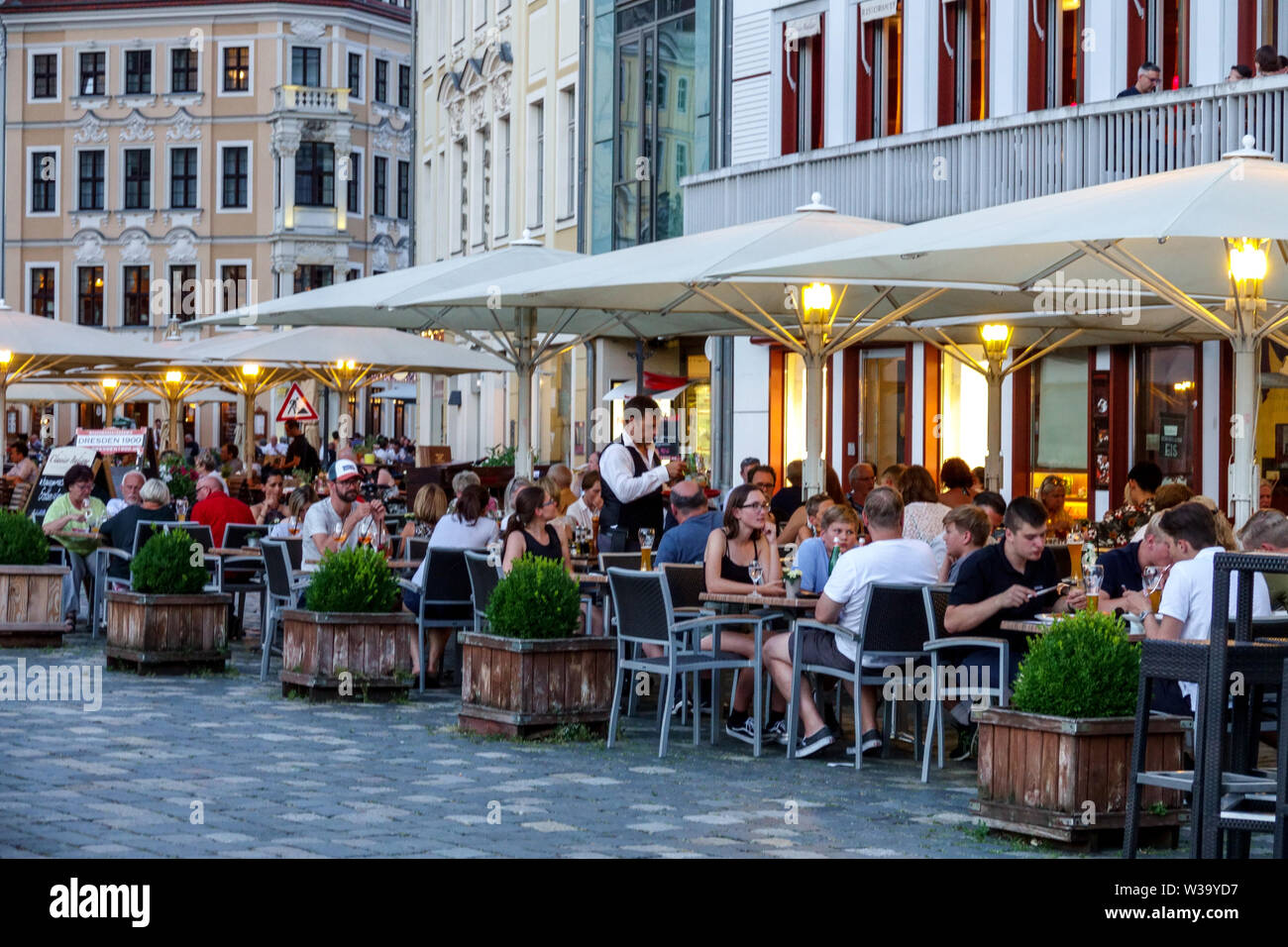 Dresden Germany People, Restaurant at Frauenkirche Square, Old Town - Stock Image