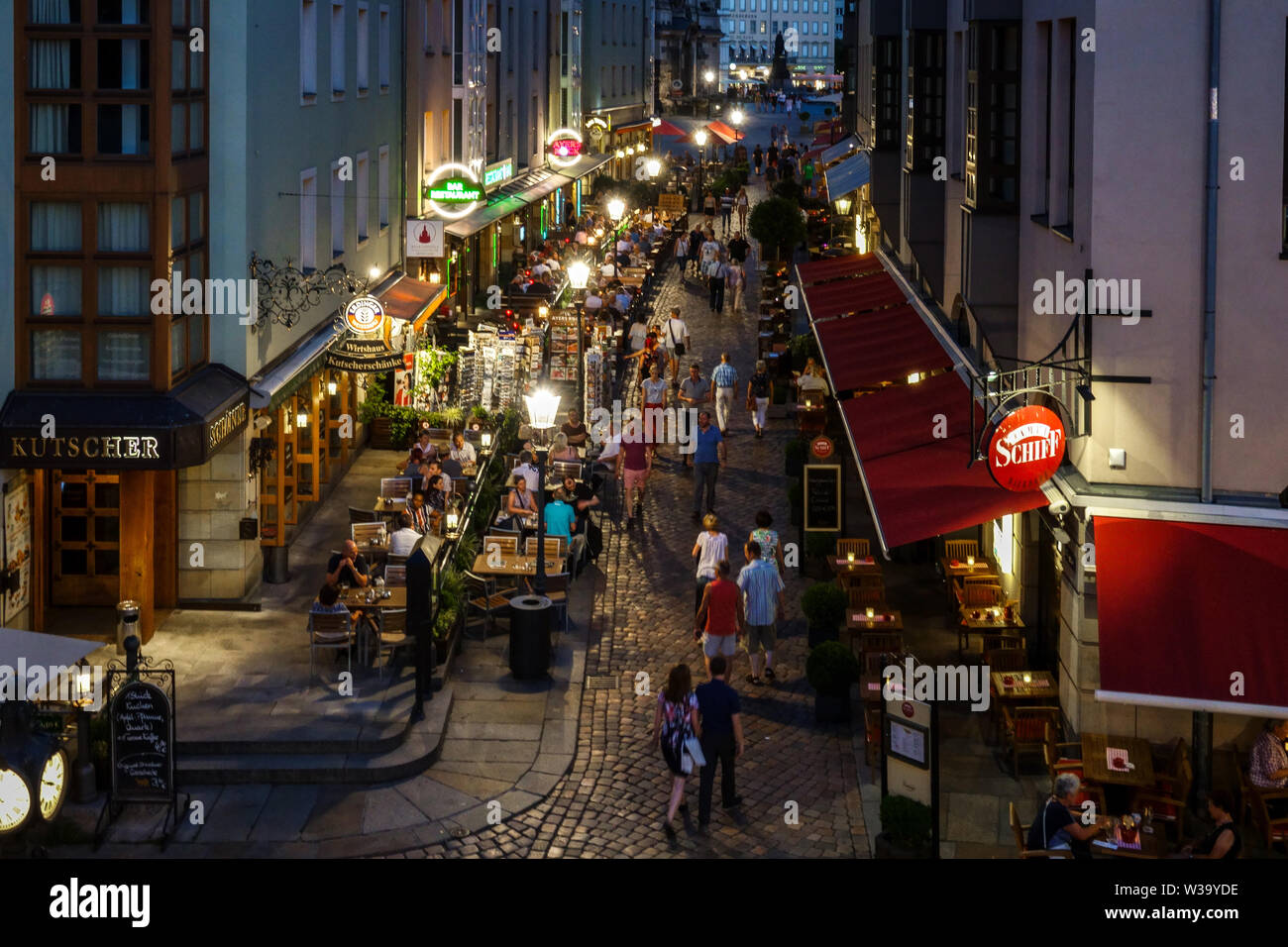Dresden Restaurant, People Old Town Germany - Stock Image