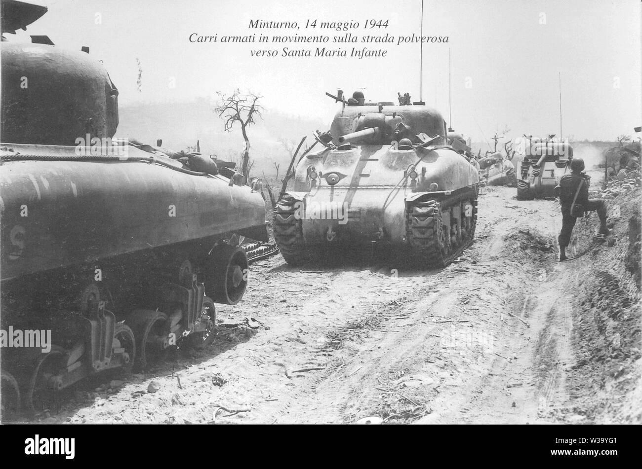 American tanks on 'Gustav line', Second World War, Minturno - Italy - Stock Image