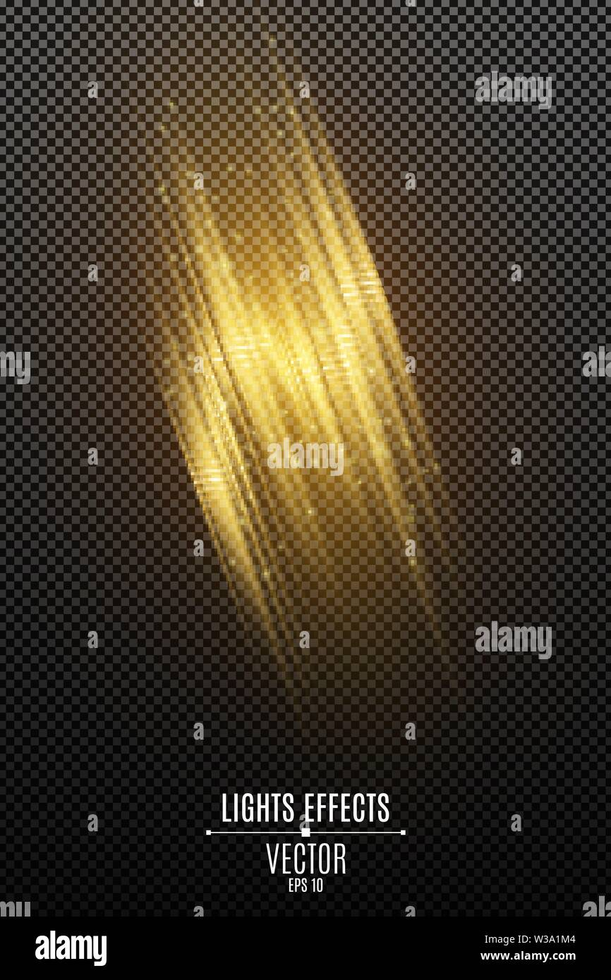 Light effect of golden abstract random neon lines isolated on transparent background. Glowing motion blur effect. Flying glowing particles. Vector ill - Stock Image