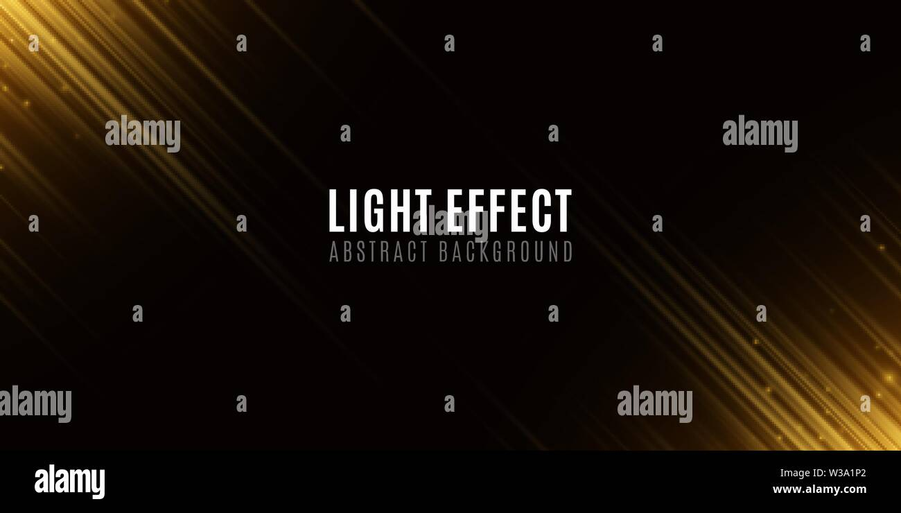 Light effect of golden abstract random neon lines. Template for your design. Motion blur effect. Flying glowing particles. Blurred neon lines on black - Stock Image