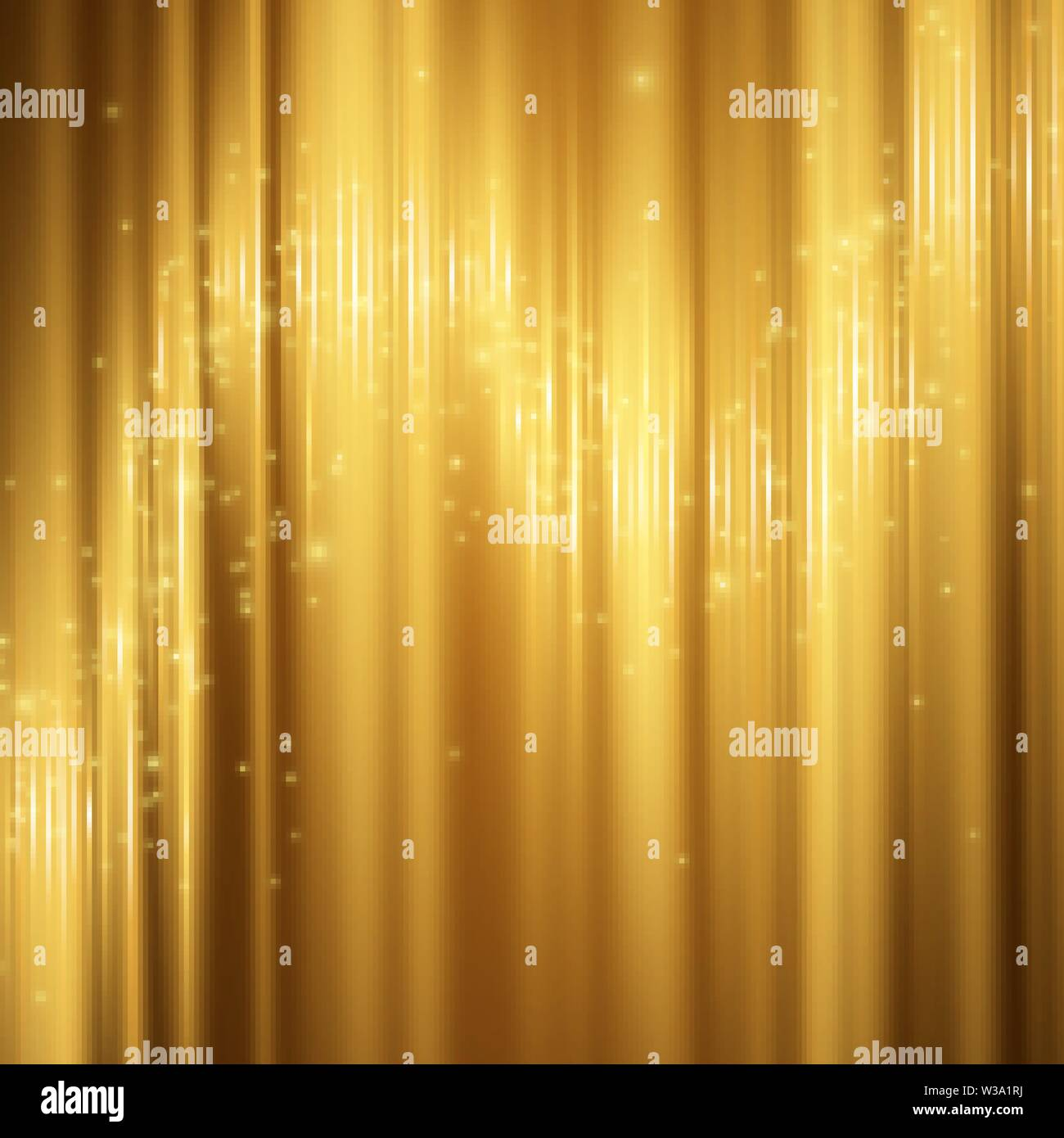 Abstract background of golden neon lines. Light effect for your design. Flying glowing particles. Futuristic backdrop. Random neon lines. Vector illus - Stock Image