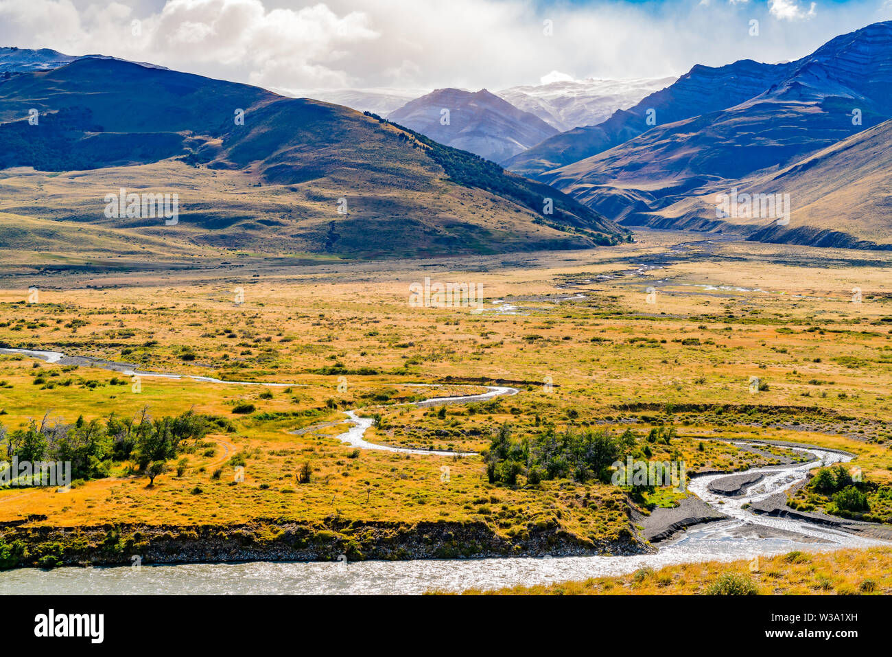 Natural landscape of Los Glaciares National Park with high mountain and river at El Chalten, Argentina - Stock Image