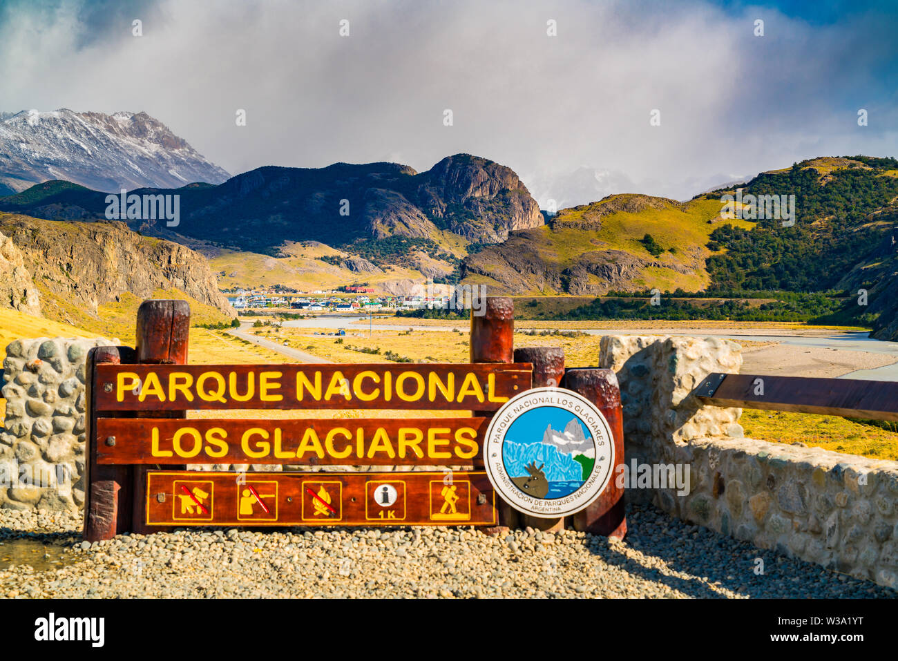 Village of El Chalten and the Los Glaciares National Park sign in Argentina - Stock Image