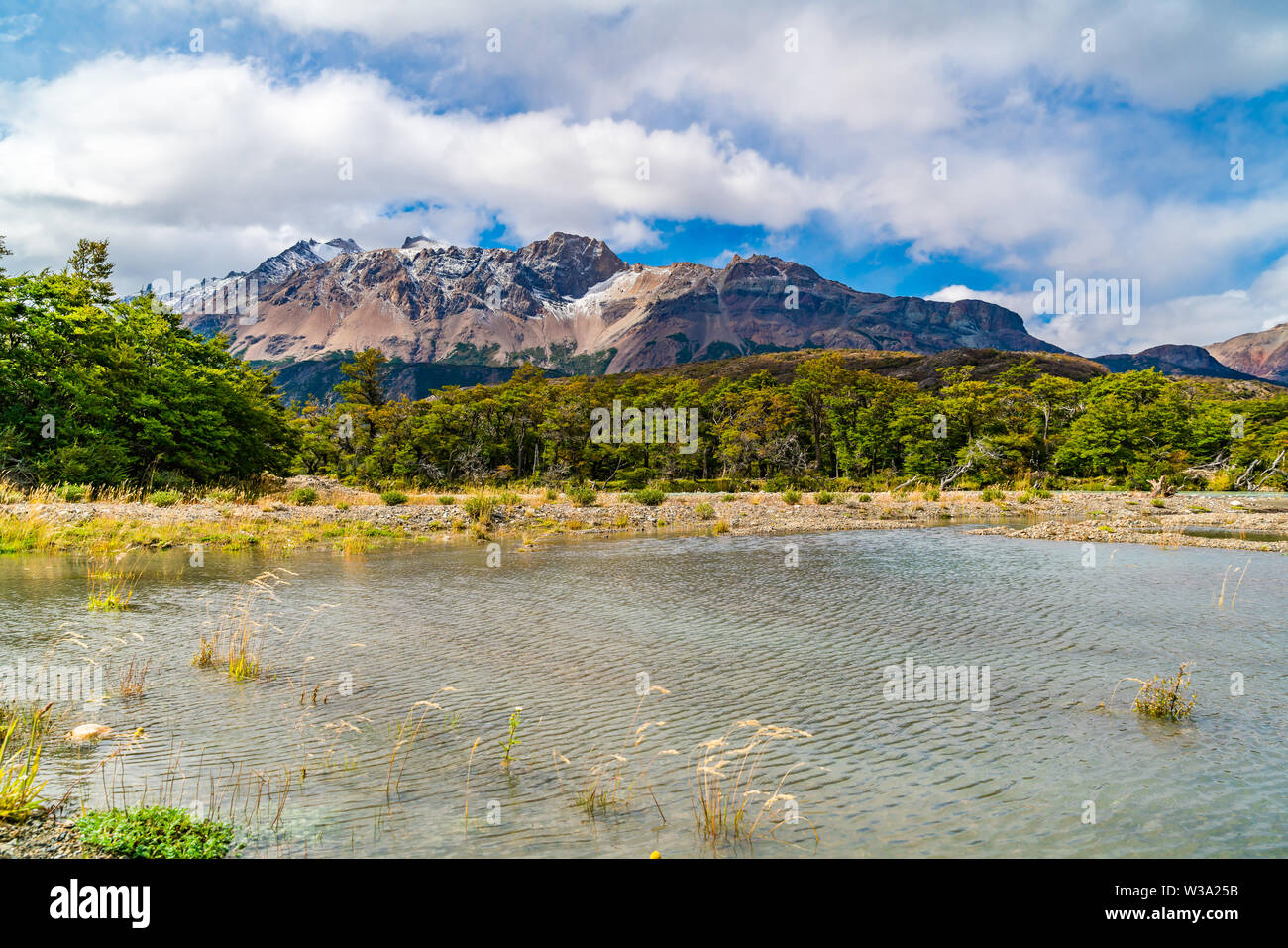 Scenic landscape of Los Glaciares National Park with beautiful mountain and river in El Chalten, Argentina - Stock Image