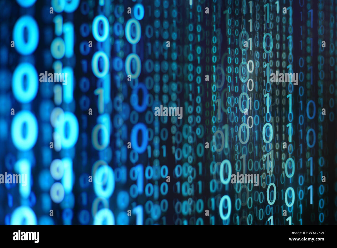 blue binary background. computer language matrix. multiple exposure photo of LED screen displaying information codes. cyber war and digital data trans - Stock Image