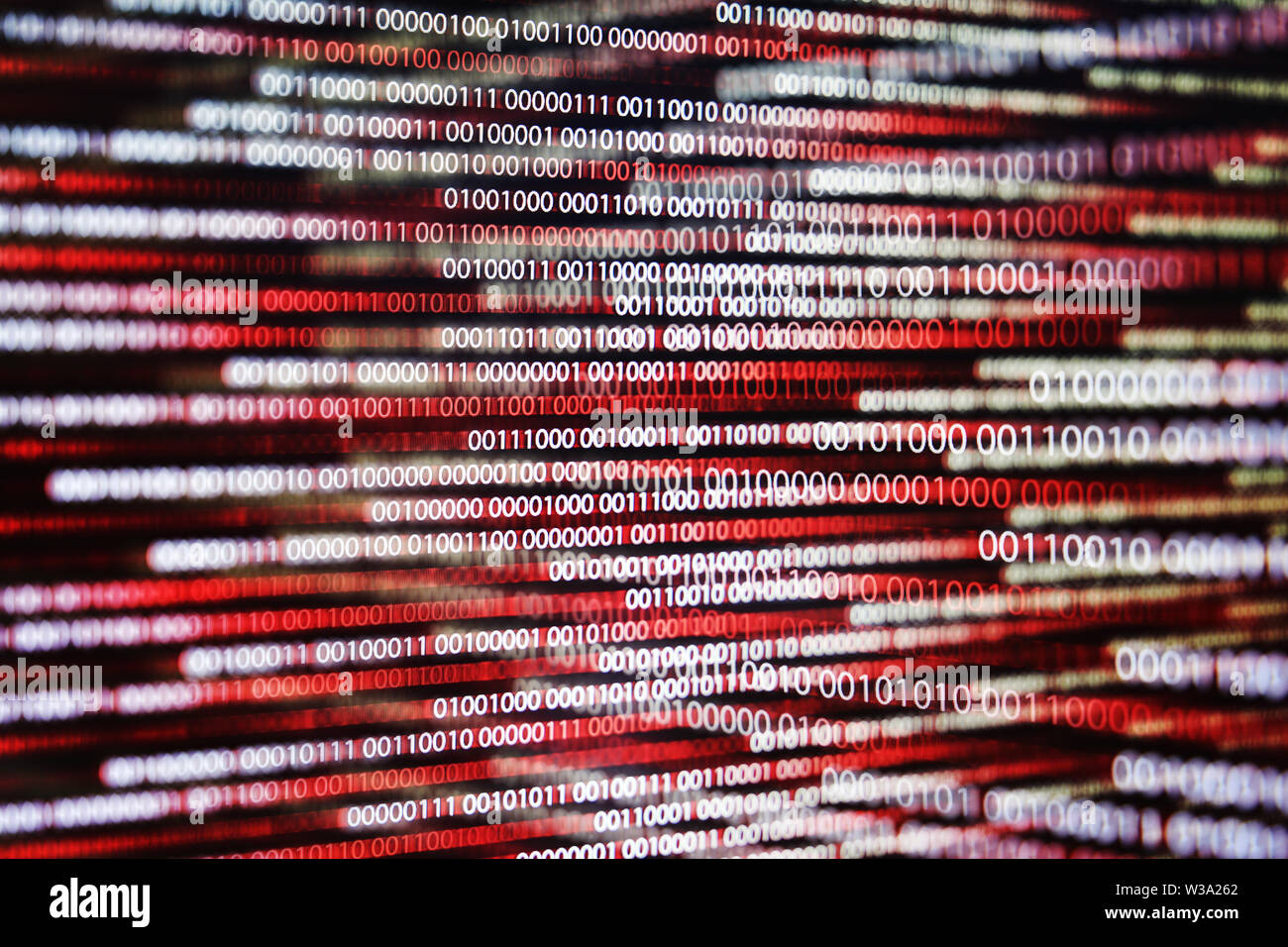 multiple exposure red binary code lines. error and computer problems concepts. - Stock Image