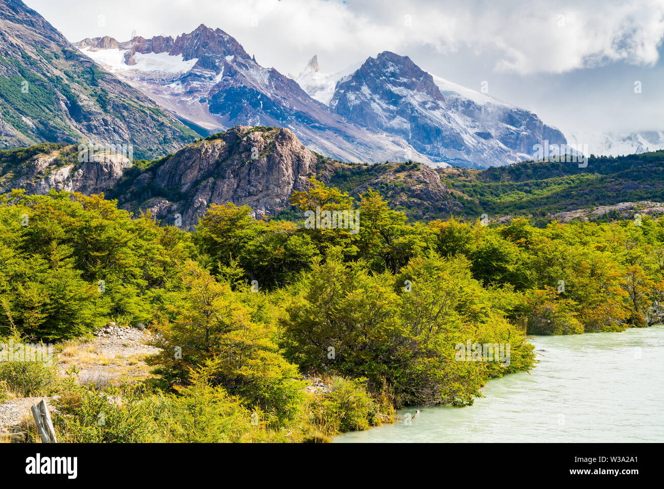 View of beautiful mountain with river in Los Glaciares National Park at El Chalten in Argentine Patagonia - Stock Image