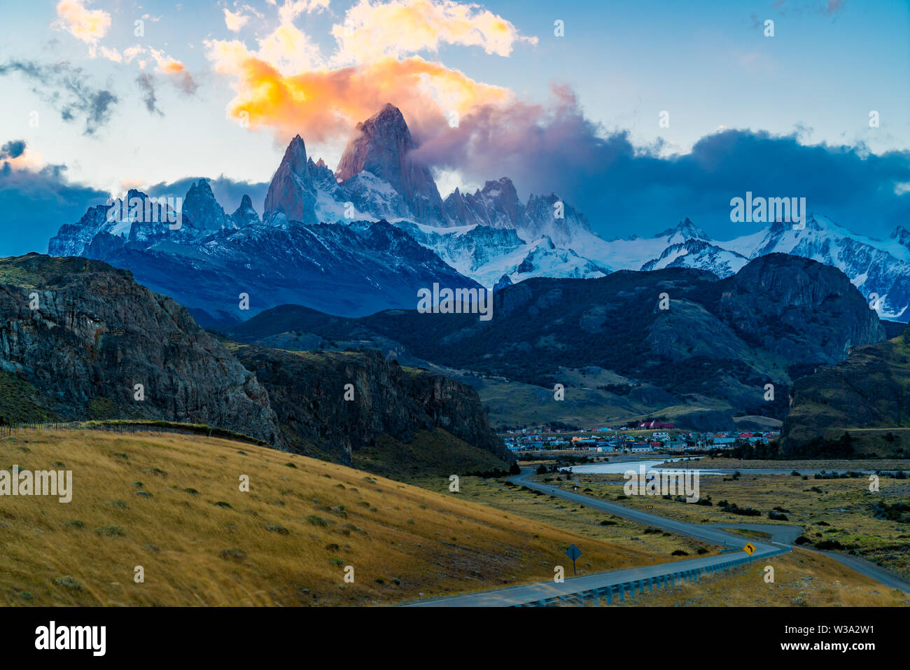 View of the famous Mount Fitz Roy or Cirro Fitz Roy at El Chalten Village in Los Glaciares National Park, Patagonia Argentina - Stock Image