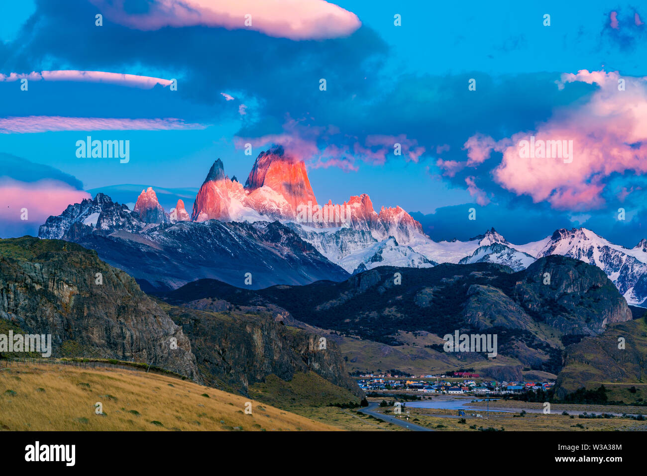 View of Mount Fitz Roy in the morning sunlight at El Chalten Village in the Los Glaciares National Park, Argentina - Stock Image