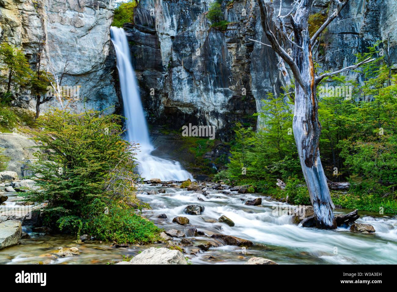 View of Chorrillo del Salto Waterfall at Los Glaciares National Park in El Chalten, Argentina - Stock Image