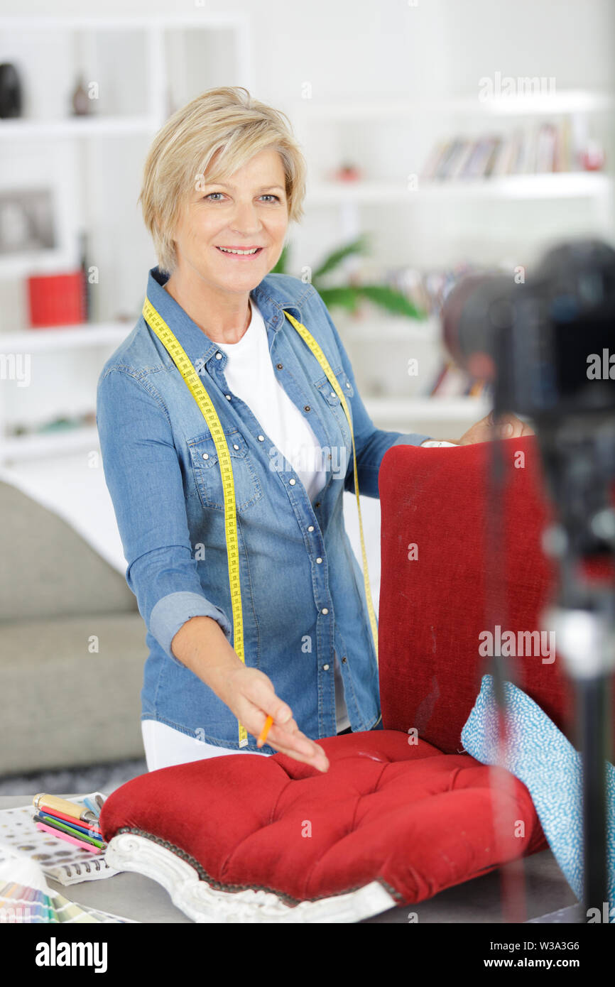 a woman and video blog concept - Stock Image