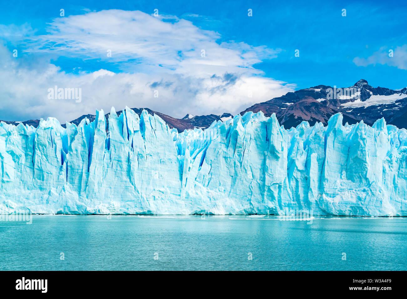 Blue Ice of Perito Moreno Glacier on Argentina Lake at Los Glaciares National Park in Argentina Patagonia - Stock Image