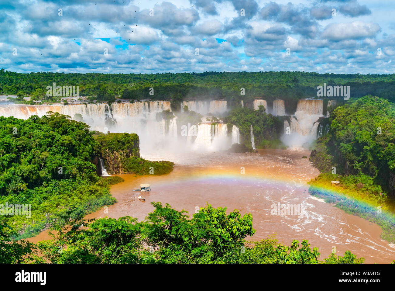 View of the famous Iguazu falls in Iguazu National Park Argentina from Brazil side - Stock Image
