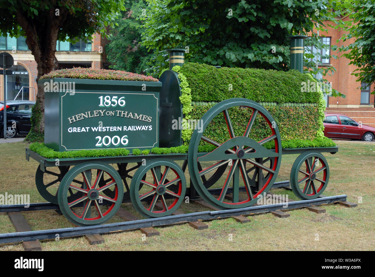 Large model of steam locomotive to celebrate 150 years of the Great Western Railway, Henley-on-Thames, Oxfordshire - Stock Image