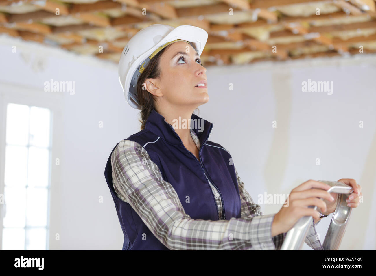 a female painter on a ladder - Stock Image
