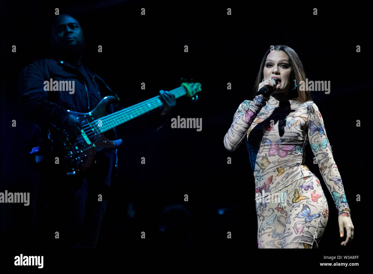 Jessie J on stage headlining the Brentwood Festival presents Evoke, Saturday 13th July 2019 - Stock Image