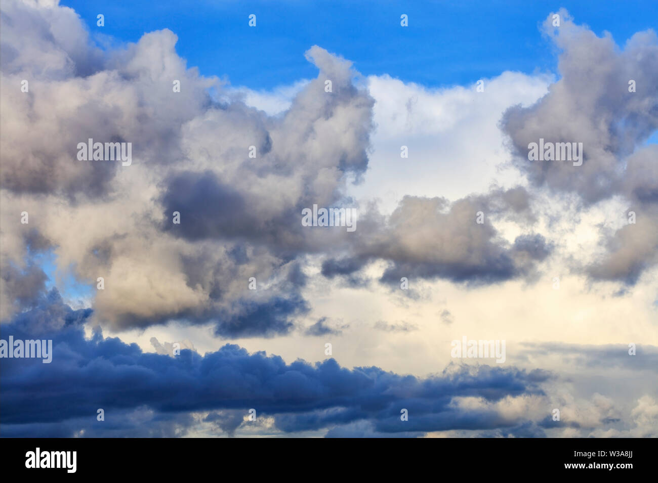Thunderclouds float in the sky, gathering together. Stock Photo