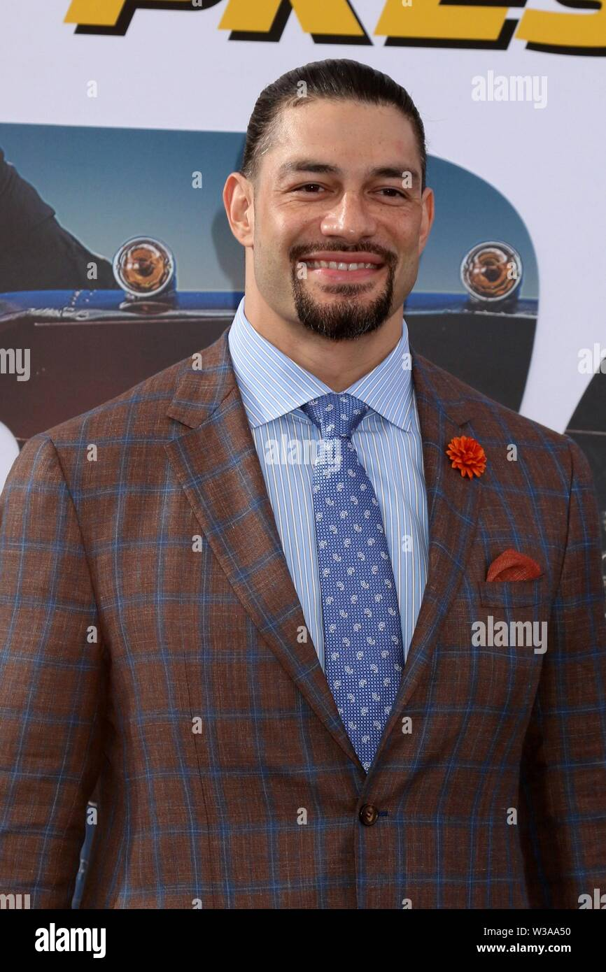 Los Angeles, CA, USA. 13th July, 2019. Roman Reigns at arrivals for FAST & FURIOUS PRESENTS: HOBBS & SHAW Premiere, The Dolby Theatre at Hollywood and Highland Center, Los Angeles, CA July 13, 2019. Credit: Priscilla Grant/Everett Collection/Alamy Live News Stock Photo